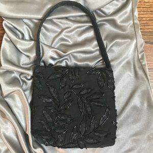 Handbags - Small Black Beaded Silk Evening Bag